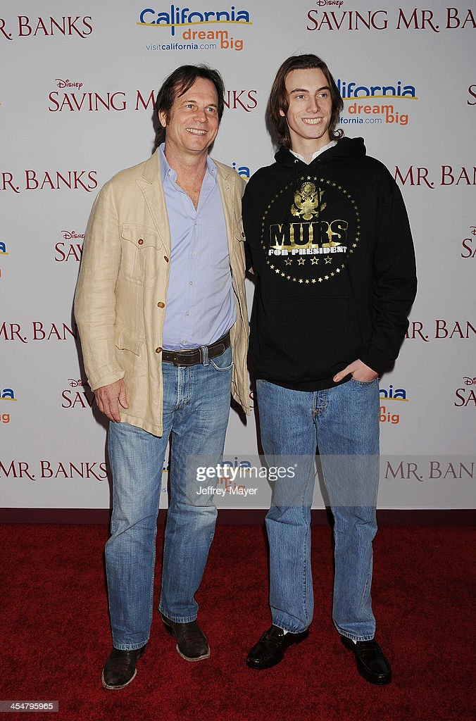 Actor <a gi-track='captionPersonalityLinkClicked' href=/galleries/search?phrase=Bill+Paxton&family=editorial&specificpeople=241223 ng-click='$event.stopPropagation()'>Bill Paxton</a> (L) and son James Paxton arrive at the 'Saving Mr. Banks' - Los Angeles Premiere at Walt Disney Studios on December 9, 2013 in Burbank, California.