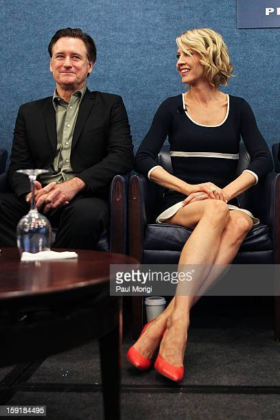 Actor Bill Pullman and actress Jenna Elfman attend the cast of '1600 Penn' discussion at The National Press Club on January 9 2013 in Washington DC