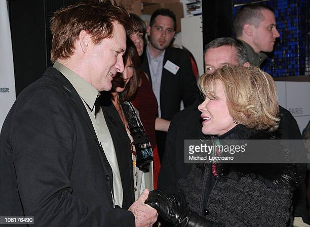 Actor Bill Pullman and TV personality Joan Rivers talk at Edward Albee's 'Peter And Jerry' opening night party at the SKY360 by Delta Lounge in New...