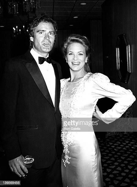 Actor Bill Sheridan and actress Leann Hunley on March 19 1985 at the Century Plaza Hotel in Century City California