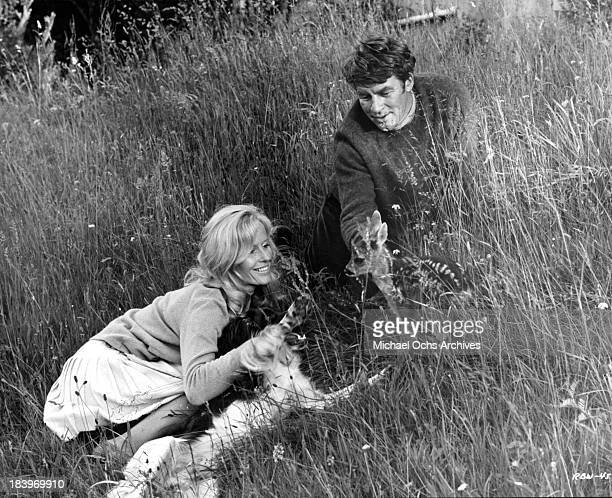 Actor Bill Travers and actress Virginia McKenna on set of the movie 'Ring of Bright Water' in 1969