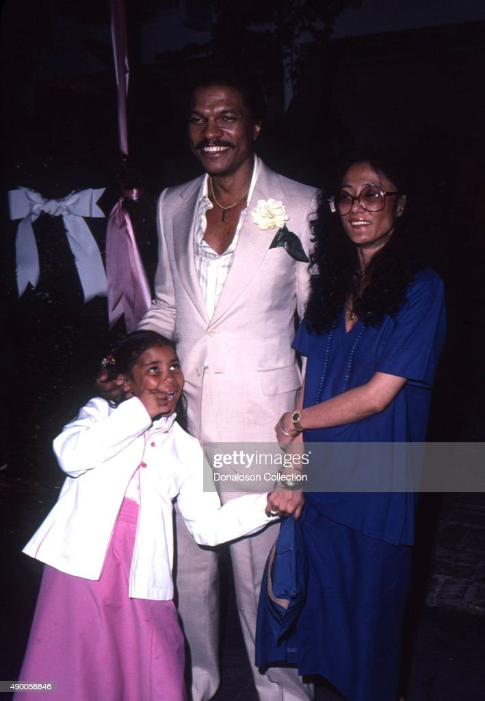 Actor Billie Dee Williams with his wife Teruko Nakagami and their daughter Hanako attend an event in November 1981 in Los Angeles California