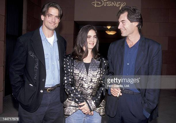 Actor Billy Campbell actress Jennifer Connelly and actor Timothy Dalton attend 'The Rocketeer' Burbank Premiere on June 22 1991 at the Walt Disney...