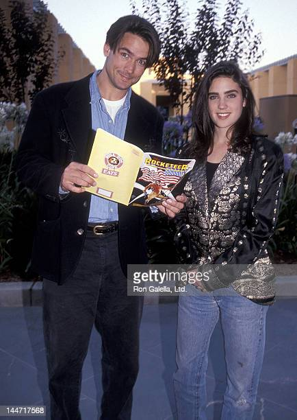 Actor Billy Campbell and actress Jennifer Connelly attend 'The Rocketeer' Burbank Premiere on June 22 1991 at the Walt Disney Studios in Burbank...
