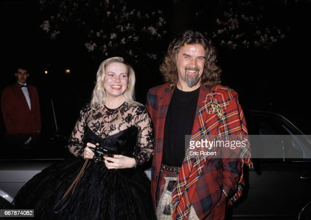 Actor Billy Connolly and actress Pamela Stephenson arrive at Elton John's birthday party at Pre Catelan