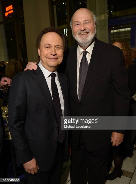 Actor Billy Crystal and honoree Rob Reiner attends the 41st Annual Chaplin Award Gala dinner at Avery Fisher Hall at Lincoln Center for the...