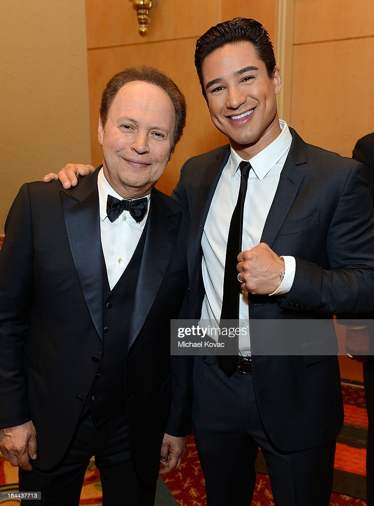 Actor Billy Crystal, and TV Personality Mario Lopez with Moet & Chandon at Celebrity Fight Night XIX at JW Marriott Desert Ridge Resort & Spa on March 23, 2013 in Phoenix, Arizona.