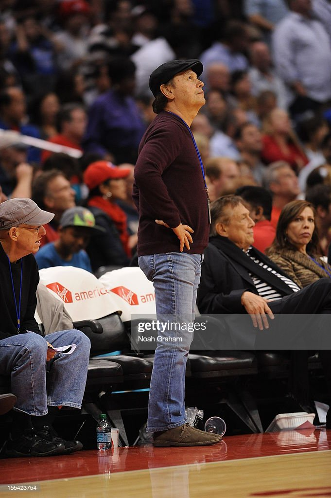 Actor Billy Crystal watches the game between the Los Angeles Clippers and the Golden State Warriors at Staples Center on November 3, 2012 in Los Angeles, California.