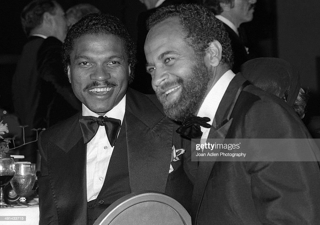 Actor Billy Dee Williams with director Michael Schultz at the Filmex black tie ball at the Century City Hotel after the movie premiere of 'FIST' on...