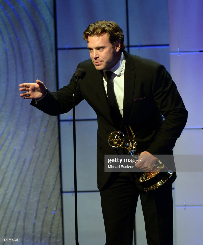 Actor <a gi-track='captionPersonalityLinkClicked' href=/galleries/search?phrase=Billy+Miller+-+Actor&family=editorial&specificpeople=12915047 ng-click='$event.stopPropagation()'>Billy Miller</a> accepts the Outstanding Supporting Actor in a Drama Series award for 'The Young and the Restless' onstage during the 40th Annual Daytime Emmy Awards at the Beverly Hilton Hotel on June 16, 2013 in Beverly Hills, California. 23774_001_1599.JPG