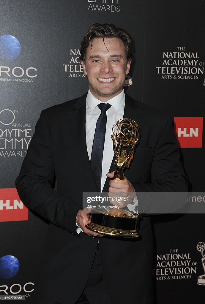 Actor <a gi-track='captionPersonalityLinkClicked' href=/galleries/search?phrase=Billy+Miller+-+Actor&family=editorial&specificpeople=12915047 ng-click='$event.stopPropagation()'>Billy Miller</a> poses with the Outstanding Supporting Actor in a Drama Series award for 'The Young and the Restless' at 40th Annual Daytime Entertaimment Emmy Awards - Press Room at The Beverly Hilton Hotel on June 16, 2013 in Beverly Hills, California.