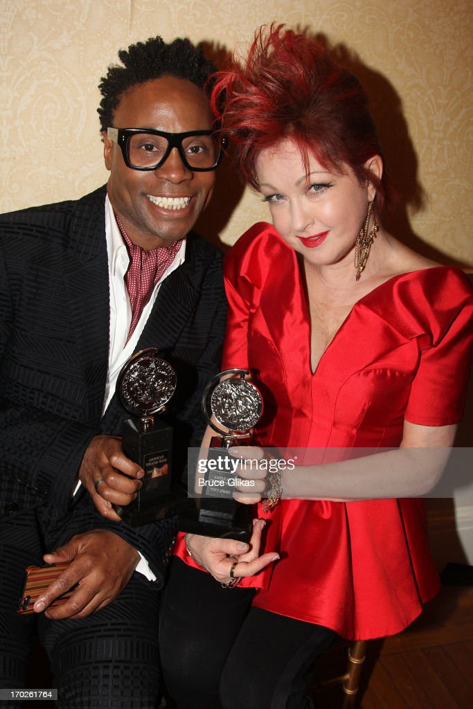 Actor <a gi-track='captionPersonalityLinkClicked' href=/galleries/search?phrase=Billy+Porter&family=editorial&specificpeople=787592 ng-click='$event.stopPropagation()'>Billy Porter</a>, winner of the award for Best Performance by a Leading Actor in a Musical for 'Kinky Boots' pose and composer <a gi-track='captionPersonalityLinkClicked' href=/galleries/search?phrase=Cyndi+Lauper&family=editorial&specificpeople=171290 ng-click='$event.stopPropagation()'>Cyndi Lauper</a>, winner of the award for Best Original Score (Music and/or Lyrics) Written for the Theatre 'Kinky Boots' pose in the press room during the 67th Annual Tony Awards at the on June 9, 2013 in New York City.