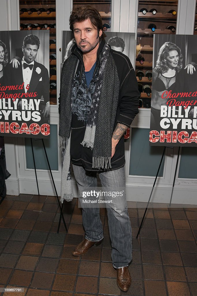 Actor <a gi-track='captionPersonalityLinkClicked' href=/galleries/search?phrase=Billy+Ray+Cyrus&family=editorial&specificpeople=213601 ng-click='$event.stopPropagation()'>Billy Ray Cyrus</a> attends the post show celebration for <a gi-track='captionPersonalityLinkClicked' href=/galleries/search?phrase=Billy+Ray+Cyrus&family=editorial&specificpeople=213601 ng-click='$event.stopPropagation()'>Billy Ray Cyrus</a>' Broadway debut in 'Chicago' at Victor's Cafe on November 5, 2012 in New York City.