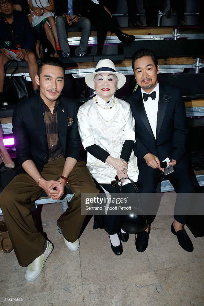 Actor Bing Hu, Owner of Lanvin Shaw Lan Wang and actor Zhang Guoli attend the Lanvin Menswear Spring/Summer 2017 show as part of Paris Fashion Week on June 26, 2016 in Paris, France.