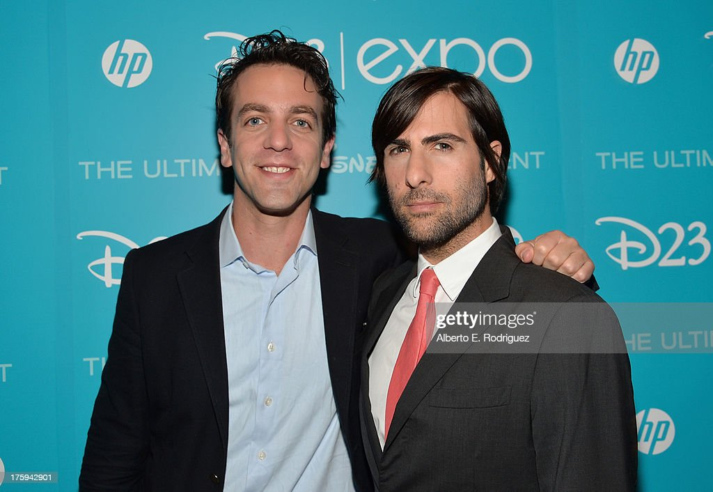 Actor <a gi-track='captionPersonalityLinkClicked' href=/galleries/search?phrase=B.J.+Novak&family=editorial&specificpeople=745545 ng-click='$event.stopPropagation()'>B.J. Novak</a> (L) and actor <a gi-track='captionPersonalityLinkClicked' href=/galleries/search?phrase=Jason+Schwartzman&family=editorial&specificpeople=216351 ng-click='$event.stopPropagation()'>Jason Schwartzman</a> of 'Saving Mr. Banks' attend 'Let the Adventures Begin: Live Action at The Walt Disney Studios' presentation at Disney's D23 Expo held at the Anaheim Convention Center on August 10, 2013 in Anaheim, California.