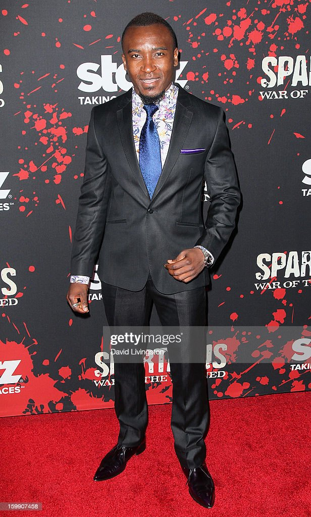 Actor Blessing Mokgohloa attends the premiere of Starz's 'Spartacus: War of the Damned' at Regal Cinemas L.A. Live on January 22, 2013 in Los Angeles, California.