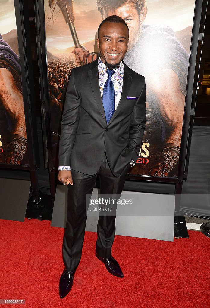 Actor Blessing Mokgohloa attends the 'Spartacus: War Of The Damned' premiere at Regal Cinemas L.A. LIVE Stadium 14 on January 22, 2013 in Los Angeles, California.