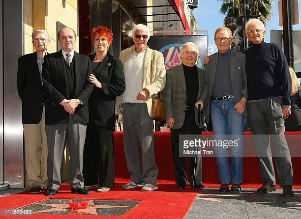 Actor Bob Newhart actress Marcia Wallace actor Dick Van Dyke actor Arte Johnson actor Jack Riley attend the Hollywood Walk of Fame tribute honoring...