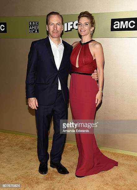 Actor Bob Odenkirk and actress Rhea Seehorn arrive at the AMC Networks' 68th Primetime Emmy Awards AfterParty Celebration at BOA Steakhouse on...