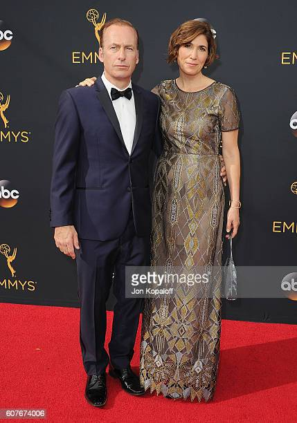 Actor Bob Odenkirk and wife Naomi Odenkirk arrive at the 68th Annual Primetime Emmy Awards at Microsoft Theater on September 18 2016 in Los Angeles...