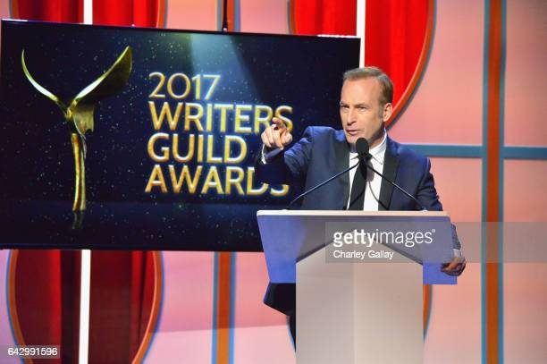 Actor Bob Odenkirk speaks onstage during the 2017 Writers Guild Awards LA Ceremony at The Beverly Hilton Hotel on February 19 2017 in Beverly Hills...
