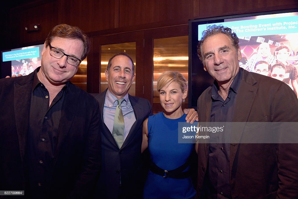 Actor Bob Saget, host Jerry Seinfeld, GOOD+ Foundation founder Jessica Seinfeld and actor Michael Richards attend the 2nd annual Los Angeles Fatherhood Lunch to benefit GOOD+FOUNDATION at The Palm Restaurant on April 20, 2016 in Beverly Hills, California.