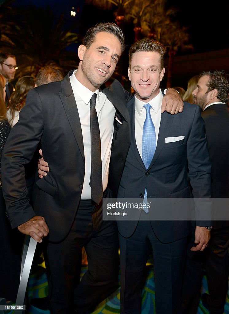 Actor <a gi-track='captionPersonalityLinkClicked' href=/galleries/search?phrase=Bobby+Cannavale&family=editorial&specificpeople=211166 ng-click='$event.stopPropagation()'>Bobby Cannavale</a> (L) and Chris Caldovino attend HBO's official Emmy after party at The Plaza at the Pacific Design Center on September 22, 2013 in Los Angeles, California.