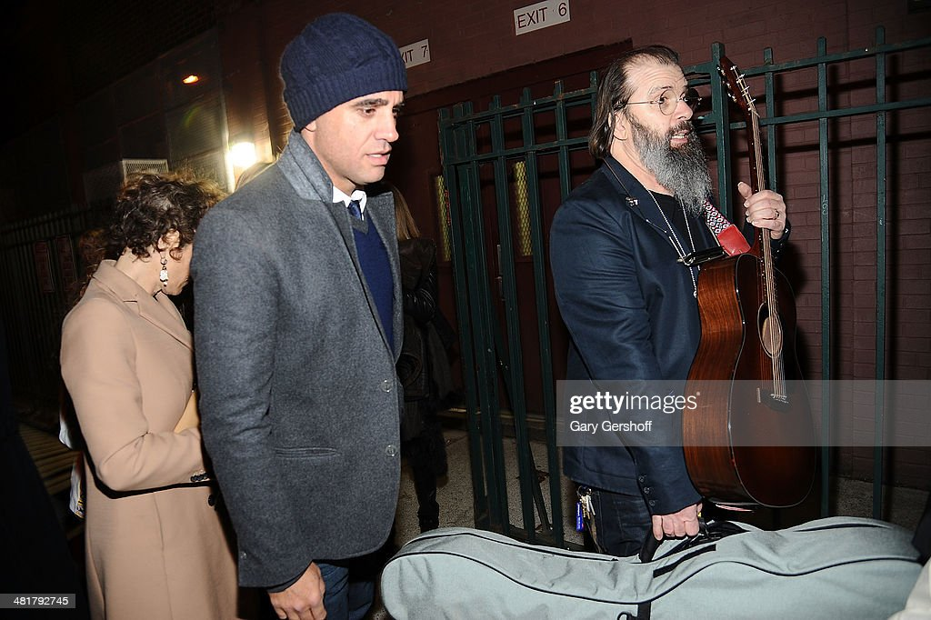 Actor <a gi-track='captionPersonalityLinkClicked' href=/galleries/search?phrase=Bobby+Cannavale&family=editorial&specificpeople=211166 ng-click='$event.stopPropagation()'>Bobby Cannavale</a> (L) and singer/songwriter <a gi-track='captionPersonalityLinkClicked' href=/galleries/search?phrase=Steve+Earle&family=editorial&specificpeople=214591 ng-click='$event.stopPropagation()'>Steve Earle</a> seen on Norfolk Street after the evacuation of Soho Rep's 2014 Spring Fete at The Angel Orensanz Foundation by the New York Fire Department on March 31, 2014 in New York City