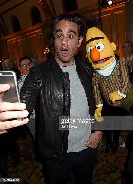 Actor Bobby Cannavale poses with Bert during the HBO Winter 2016 TCA Reception at Langham Hotel on January 7 2016 in Pasadena California