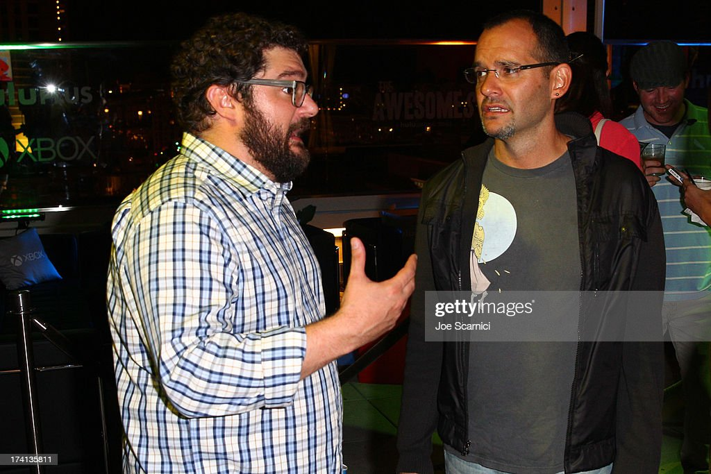 Actor <a gi-track='captionPersonalityLinkClicked' href=/galleries/search?phrase=Bobby+Moynihan&family=editorial&specificpeople=5633398 ng-click='$event.stopPropagation()'>Bobby Moynihan</a> (L) and writer Judd Winick attend 'The Awesomes' VIP After-Party sponsored by Hulu and Xbox at Andaz on July 20, 2013 in San Diego, California.