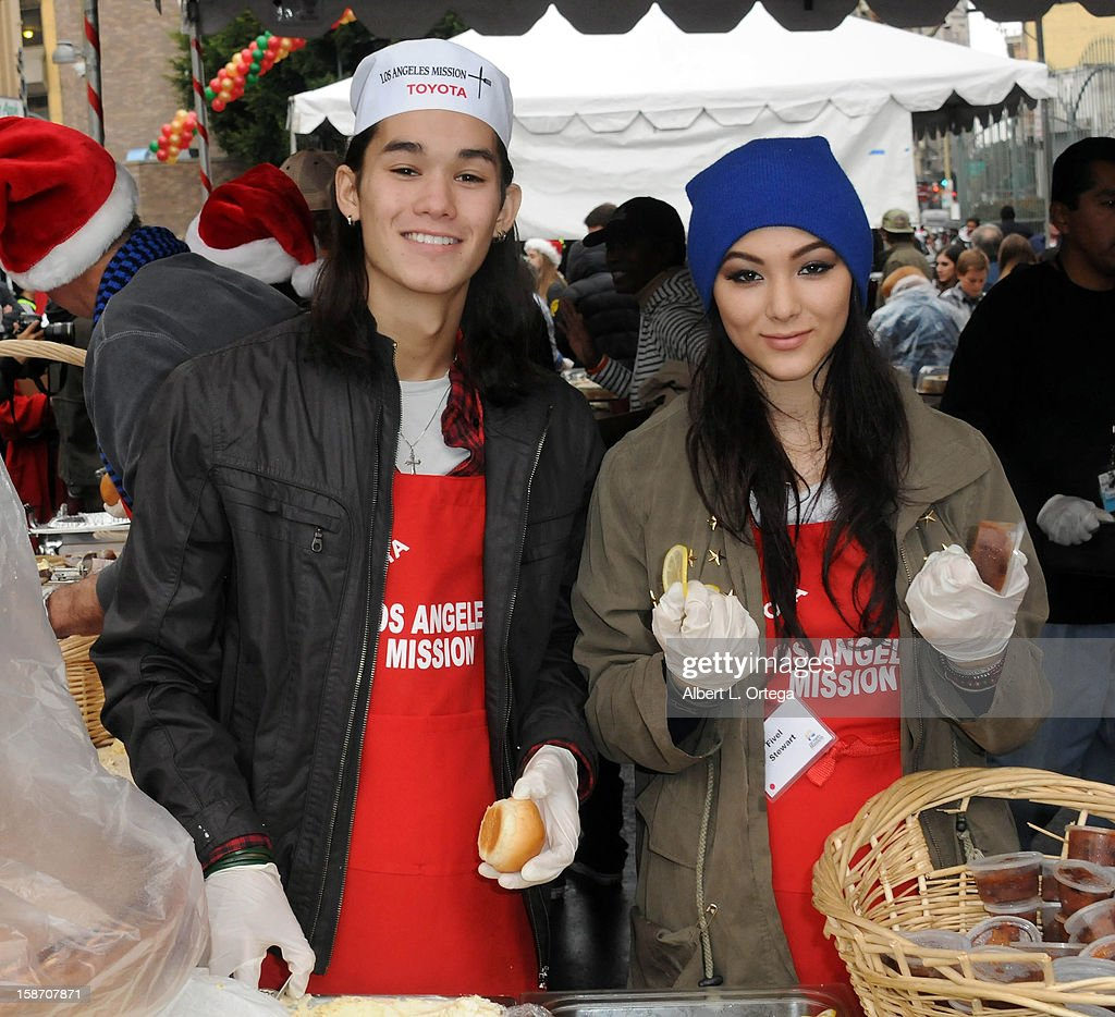 Actor BooBoo Stewart and actress <a gi-track='captionPersonalityLinkClicked' href=/galleries/search?phrase=Fivel+Stewart&family=editorial&specificpeople=5553784 ng-click='$event.stopPropagation()'>Fivel Stewart</a> participate in the Los Angeles Mission Christmas Eve lunch For The Homeless held at the Los Angeles Mission on December 24, 2012 in Los Angeles, California.