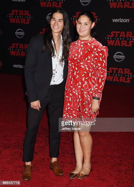 Actor Booboo Stewart and Sage Stewart attend the premiere of Disney Pictures and Lucasfilm's 'Star Wars The Last Jedi' at The Shrine Auditorium on...