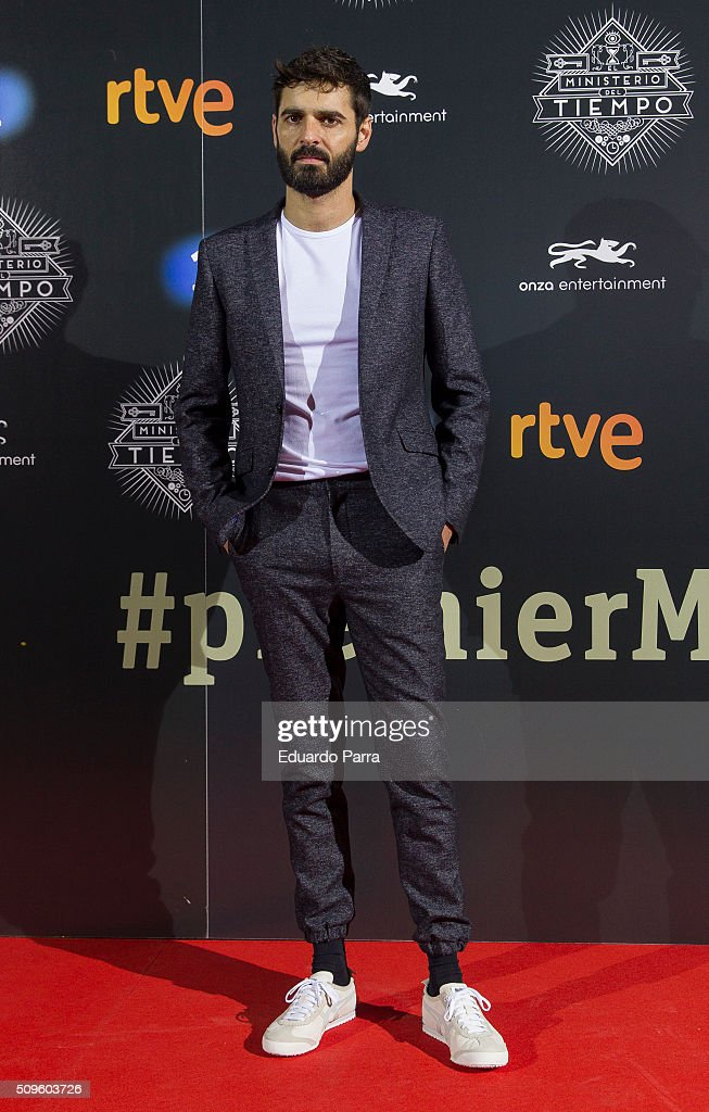 Actor Borja Maestre attends 'El Ministerio del Tiempo' second season premiere at Capitol cinema on February 11, 2016 in Madrid, Spain.