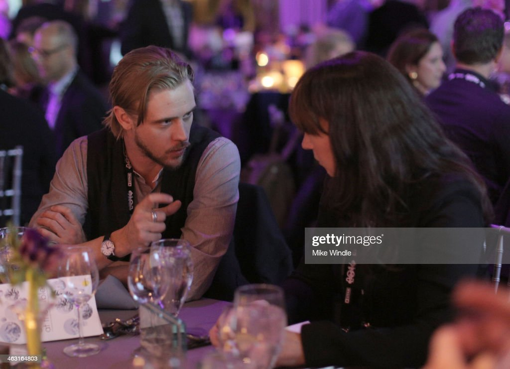 Actor Boyd Holbrook (L) and guest attend An Artist at the Table: Dinner Program during the 2014 Sundance Film Festival at Stein Eriksen Lodge on January 16, 2014 in Park City, Utah.