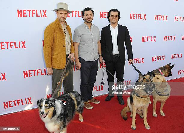 Actor Boyd Holbrook executive producer Eric Newman and actor Wagner Moura arrive at Netflix Original Series' 'Narcos' FYC Screening and QA at...