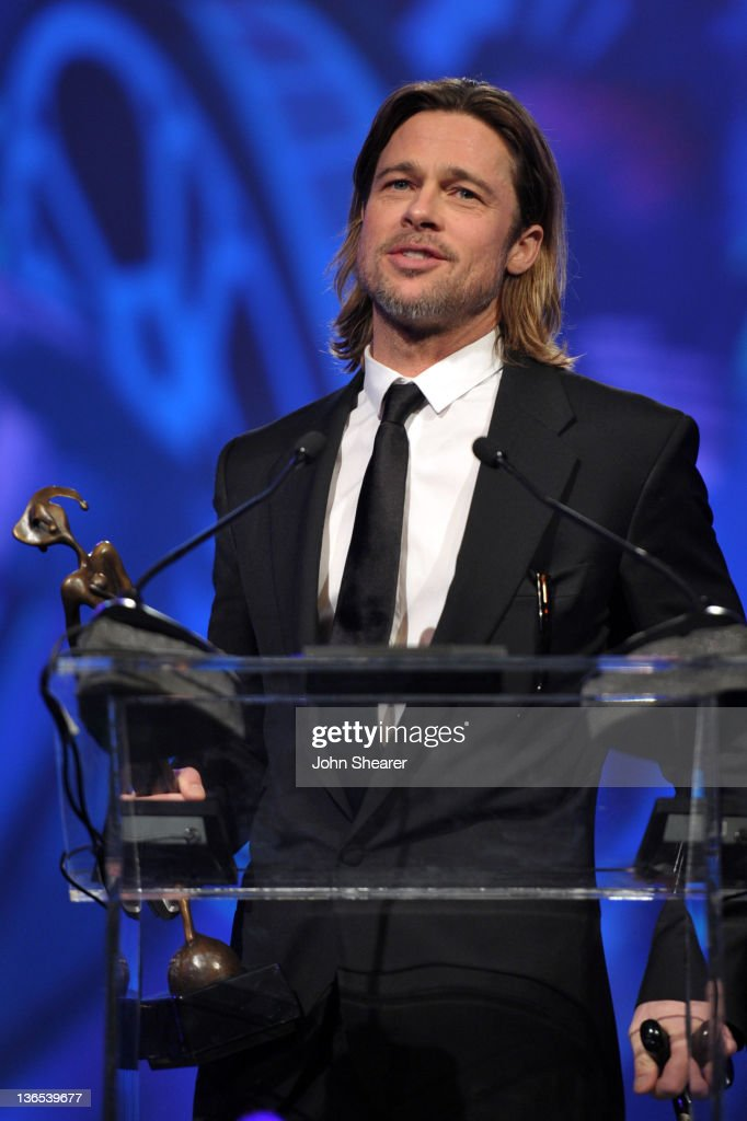 Actor <a gi-track='captionPersonalityLinkClicked' href=/galleries/search?phrase=Brad+Pitt+-+Actor&family=editorial&specificpeople=201682 ng-click='$event.stopPropagation()'>Brad Pitt</a> accepts the Desert Palm Achievement Award onstage during The 23rd Annual Palm Springs International Film Festival Awards Gala at the Palm Springs Convention Center on January 7, 2012 in Palm Springs, California.