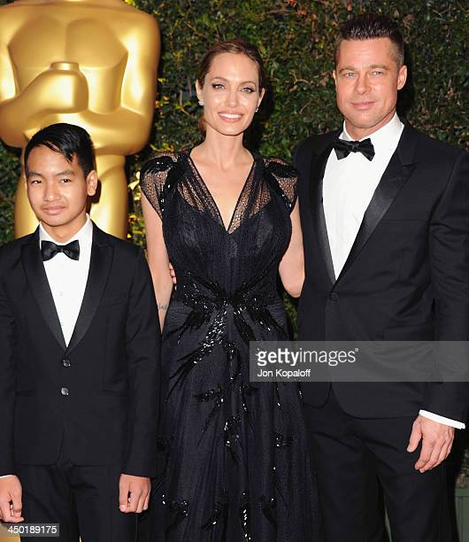 Actor Brad Pitt actress Angelina Jolie and son Maddox JoliePitt arrive at The Board Of Governors Of The Academy Of Motion Picture Arts And Sciences'...