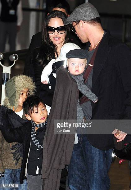 Actor Brad Pitt and actress Angelina Jolie arrive at Narita International Airport on January 27 2009 in Narita Chiba Japan