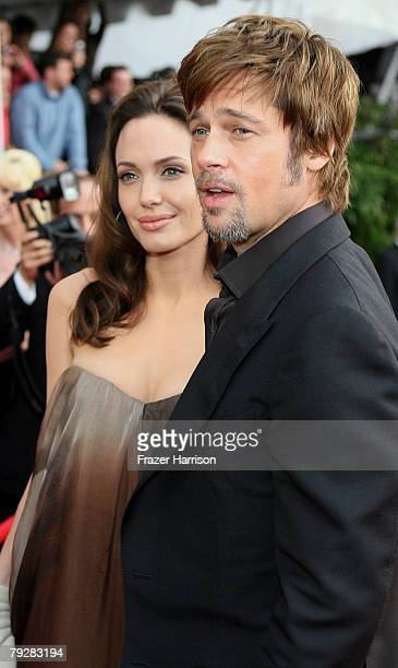 Actor Brad Pitt and actress Angelina Jolie arrive at the 14th annual Screen Actors Guild awards held at the Shrine Auditorium on January 27 2008 in...