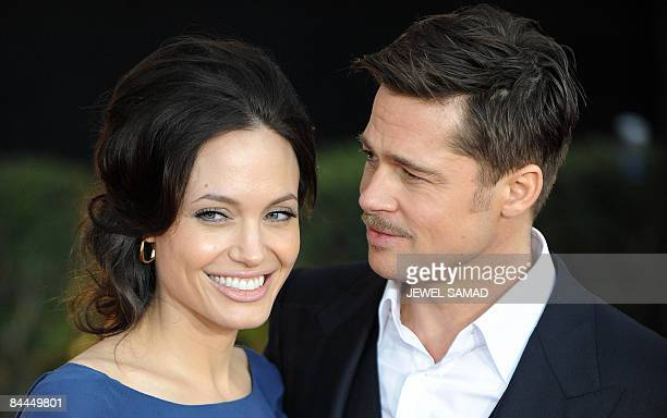 Actor Brad Pitt and actress Angelina Jolie arrive at the 15th Annual Screen Actors Guild Awards at the Shrine Auditorium in Los Angeles California on...