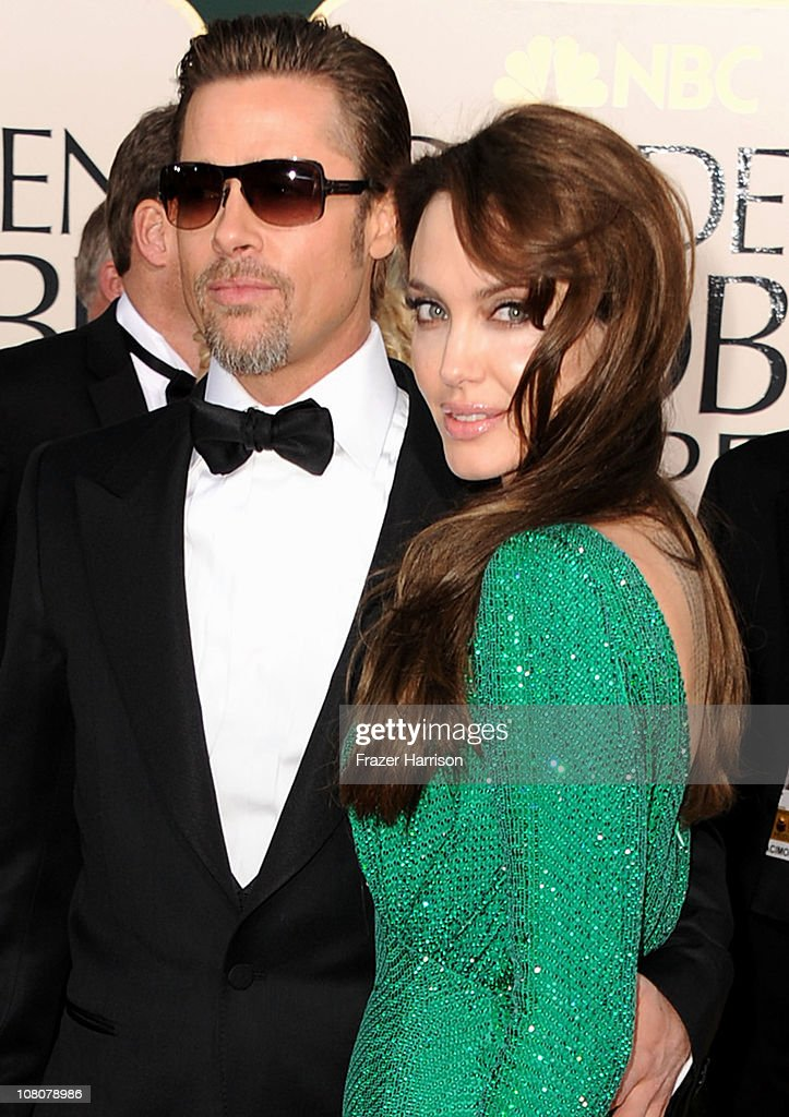 Actor Brad Pitt (L) and actress Angelina Jolie arrive at the 68th Annual Golden Globe Awards held at The Beverly Hilton hotel on January 16, 2011 in Beverly Hills, California.