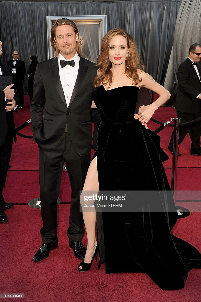 Actor Brad Pitt (L) and actress Angelina Jolie arrive at the 84th Annual Academy Awards held at the Hollywood & Highland Center on February 26, 2012 in Hollywood, California.