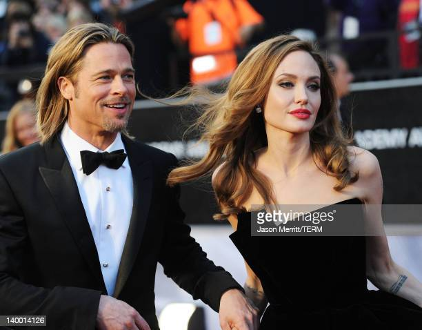 Actor Brad Pitt and actress Angelina Jolie arrive at the 84th Annual Academy Awards held at the Hollywood Highland Center on February 26 2012 in...