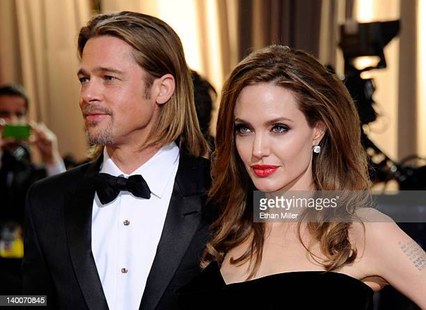 Actor Brad Pitt and actress Angelina Jolie arrive at the 84th Annual Academy Awards at the Hollywood Highland Center February 26 2012 in Hollywood...
