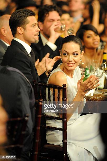 Actor Brad Pitt and actress Angelina Jolie during VH1's 14th Annual Critics' Choice Awards held at the Santa Monica Civic Auditorium on January 8...