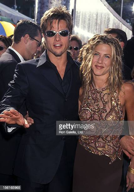 Actor Brad Pitt and actress Jennifer Aniston attend the 51st Annual Primetime Emmy Awards on September 12 1999 at Shrine Auditorium in Los Angeles...