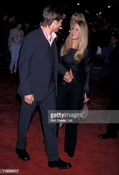 Actor Brad Pitt and actress Jennifer Aniston attend the 'Fight Club' Westwood Premiere on October 6 1999 at Mann Village Theatre in Westwood...
