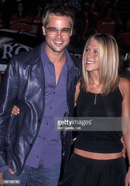 Actor Brad Pitt and actress Jennifer Aniston attend the 'Rock Star' Westwood Premiere on September 4 2001 at the Mann Village Theatre in Westwood...