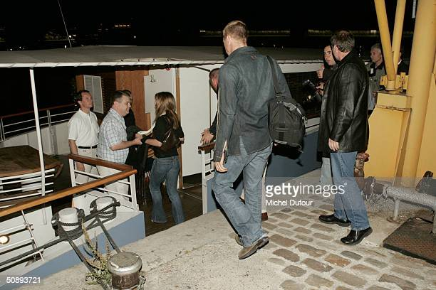 Actor Brad Pitt and actress Jennifer Aniston board the 'Josephine' for a boat ride after arriving May 24 2004 in Paris France Pitt arrived in Paris...