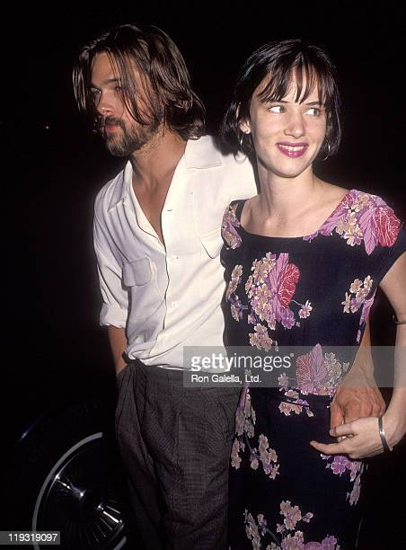 Actor Brad Pitt and actress Juliette Lewis attend the 'Johnny Suede' Beverly Hills Premiere on August 19 1992 at the Laemmle's Fine Arts Theatre in...